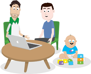 parent and therapist both looking at a laptop together, a baby is sat on the floor playing with blocks
