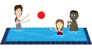 therapist and children playing with ball in swimming pool