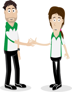 Cartoon illustration of two OT for Kids therapists shaking hands.