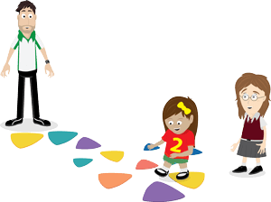 Children playing on coloured stepping stones, therapist observes