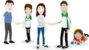 Cartoon image of parents and OT for Kids therapists shaking hands