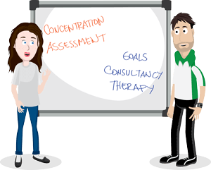 Teacher and therapist talking infront of a white board