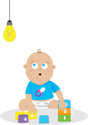 baby looking up at light bulb