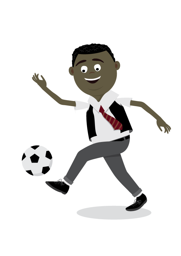 boy in his school uniform playing football